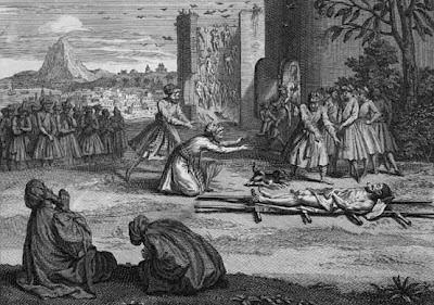 Rito funerario parsi en un grabado del XIX. Observese la distancia que los vivos guardan con el difunto. Hablaremos de ello en el próximo capítulo.