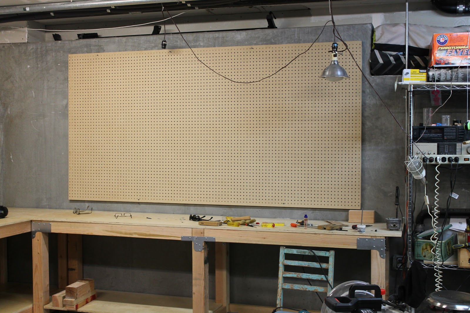 best plans size full large peg workbench for board of homemade garage making shed top designs a with pegboard