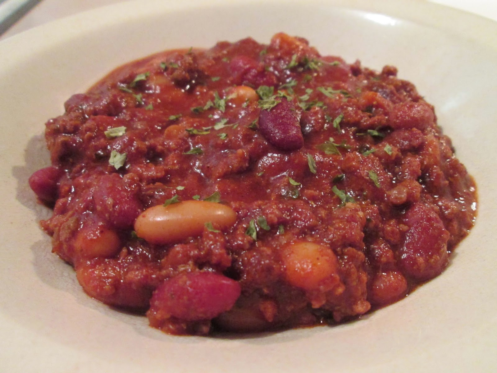 saturday's chili! - crock pot 3 bean buffalo chili
