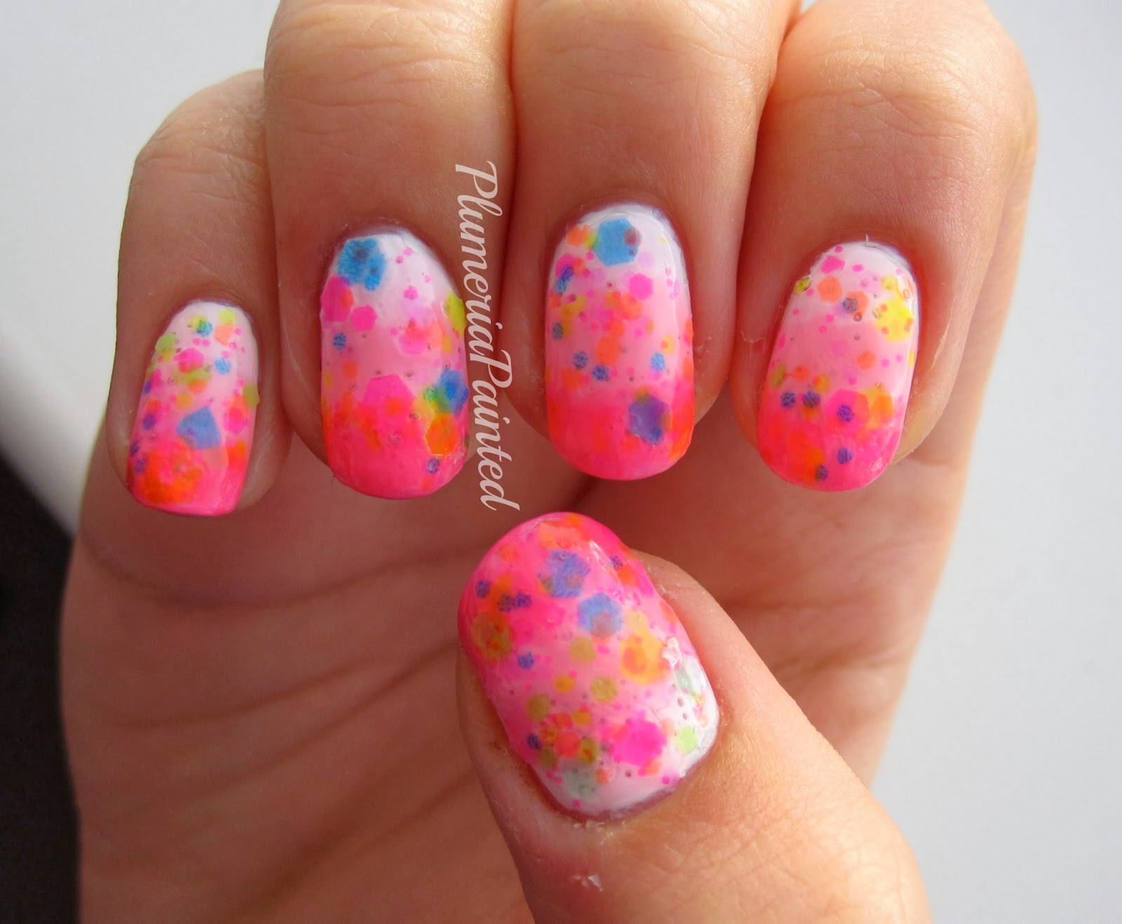 PlumeriaPainted: Pink Gradient Nails + Neon Glitter