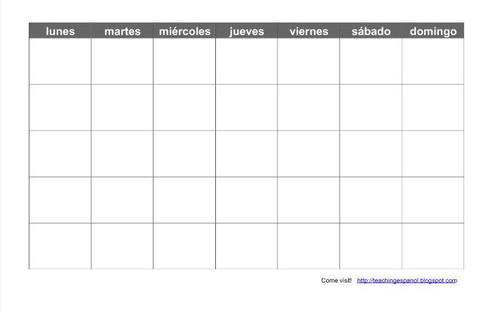 April Calendar In Spanish : Teaching español print a blank spanish calendar