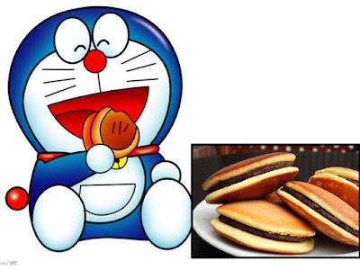 Doraemon sangat senang memakan Dorayaki