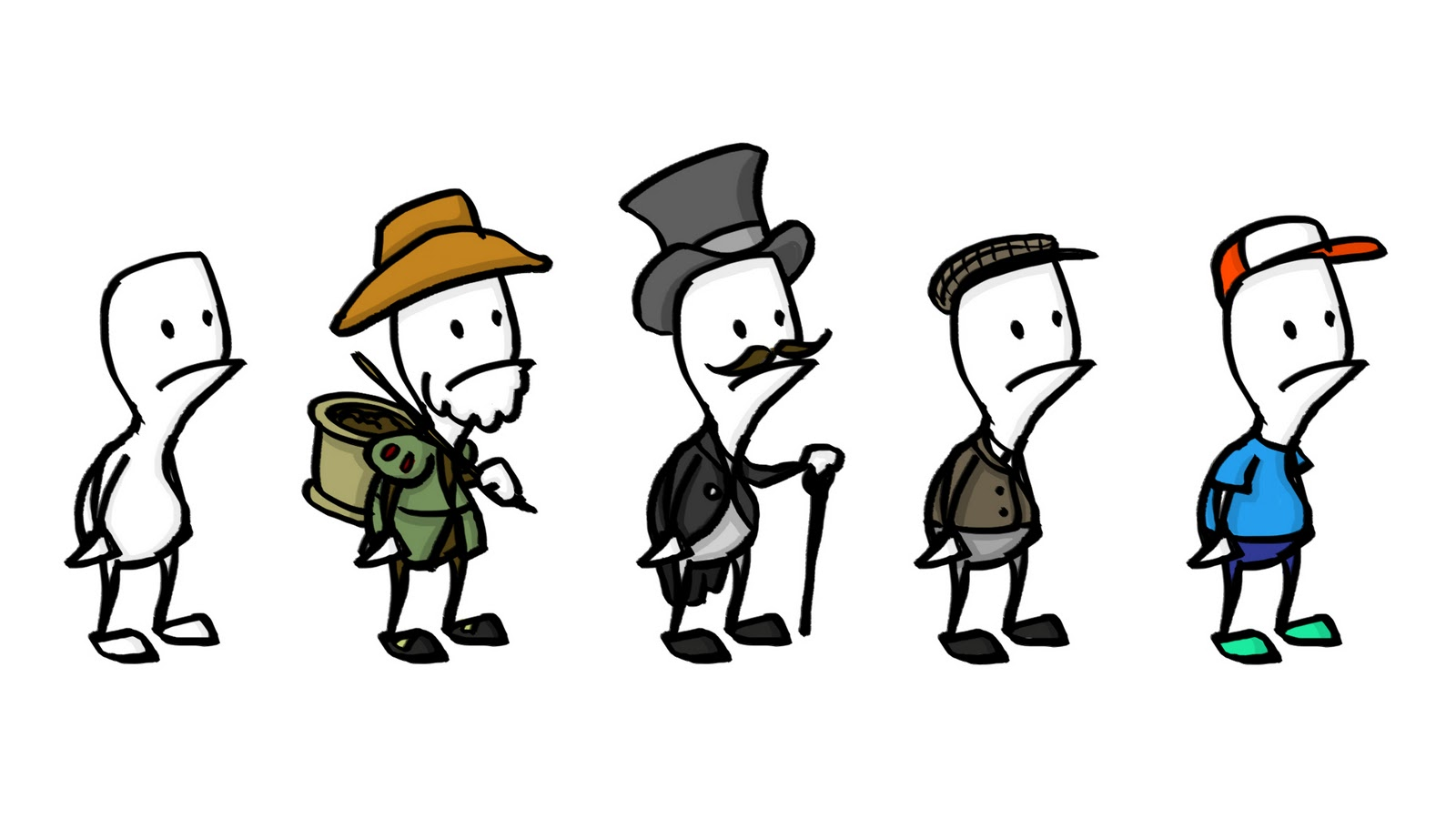 Character Design Evolution : Simple person illustration