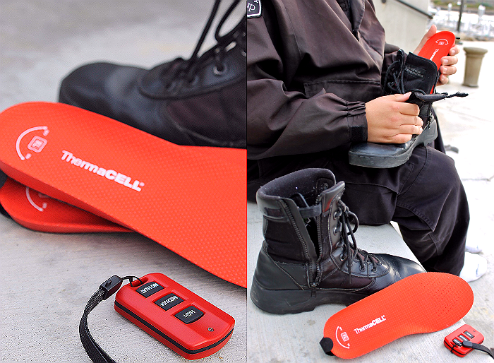 ThermaCELL heated insoles charge via an internal battery and maintain warmth for up to 5 hours on a single charge.