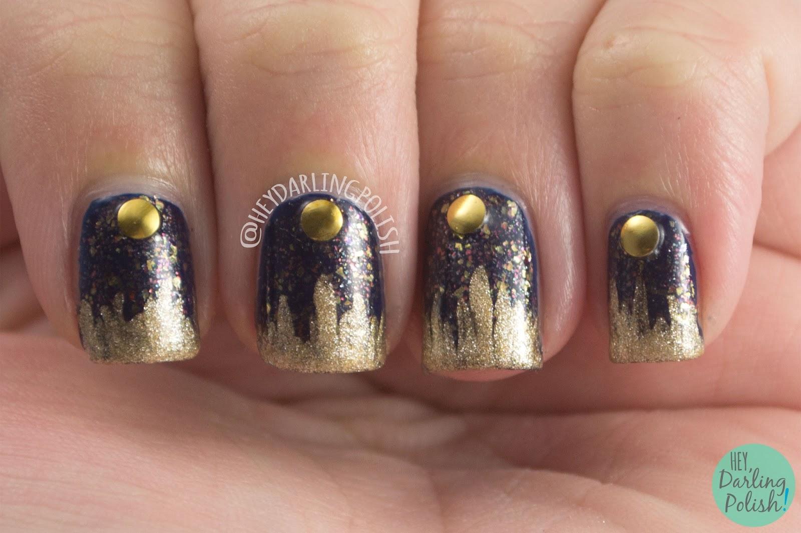 blue, gold, scary, flakies, studs, nails, nail art, nail polish, indie, indie polish, indie nail polish, nvr enuff polish, hey darling polish