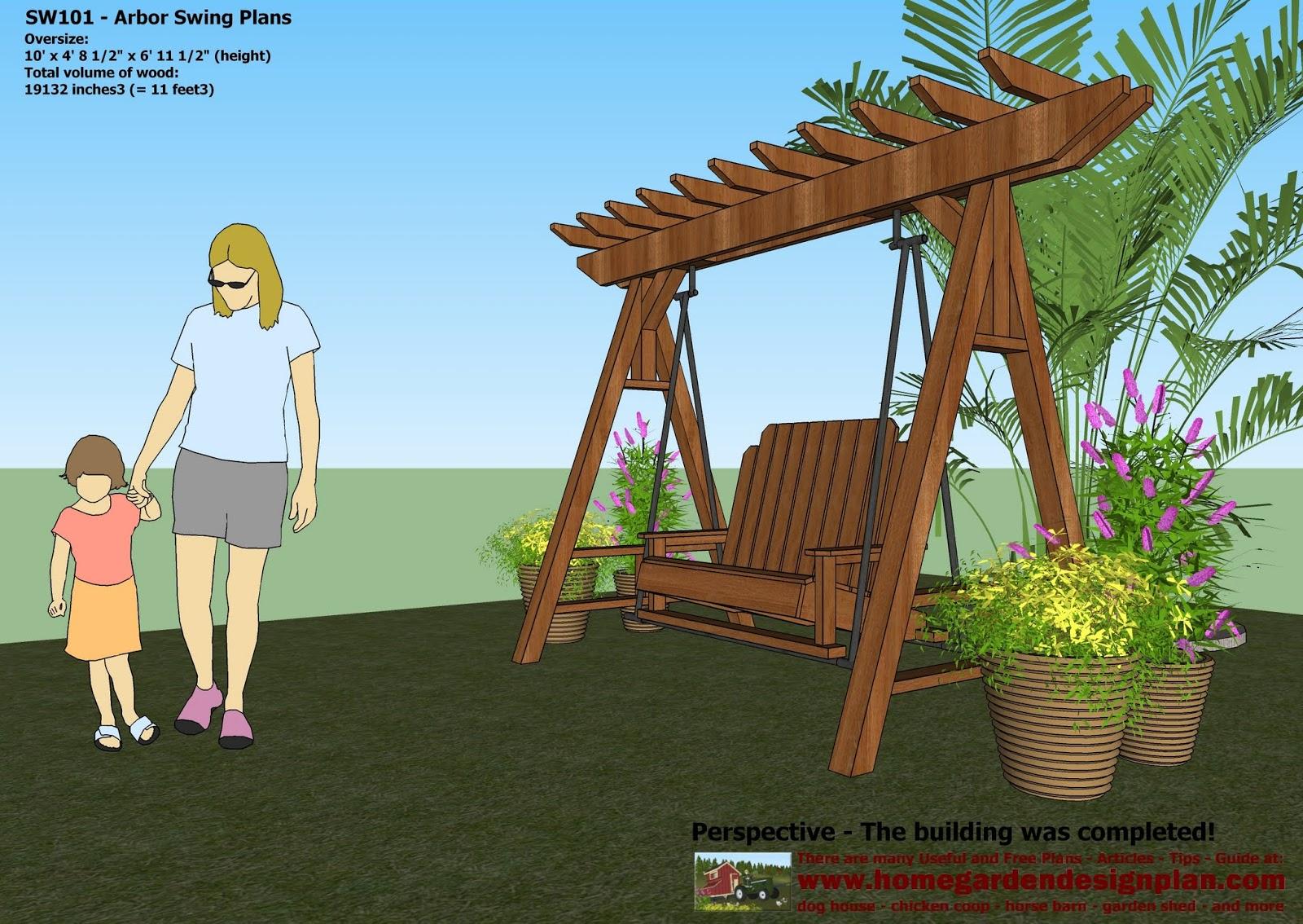 Home Garden Plans Sw101 Arbor Swing Plans Construction - garden swing designs