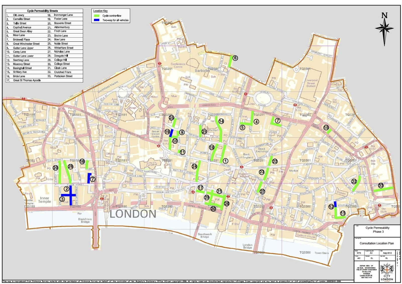 city of london map of the proposed new contraflow cycle streets source city of london