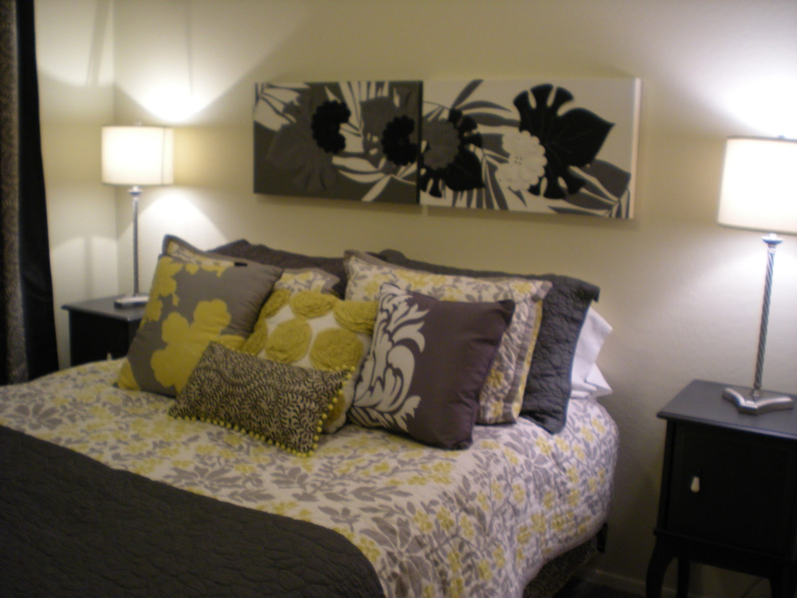Yellow and Gray Bedroom Bedding