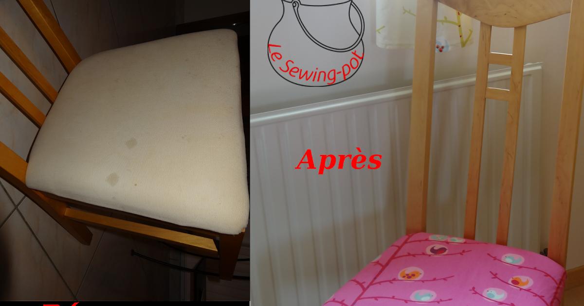 le sewing pot tuto recouvrir une chaise en tissu. Black Bedroom Furniture Sets. Home Design Ideas