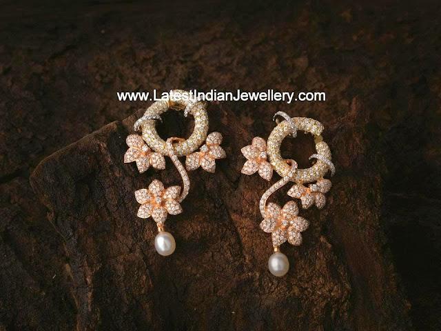 Stylish Diamond Floral Earrings