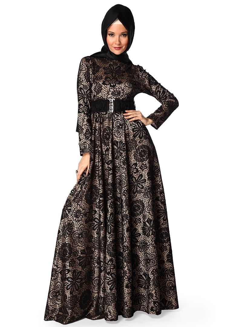 Trendy Hijab Fashion Elegant Lacy Evening Dress Models