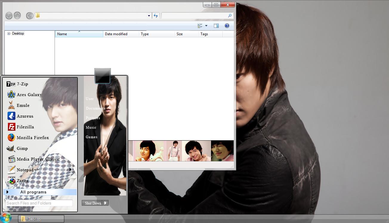 Google themes lee min ho - Lee Min Ho Windows 7 Theme