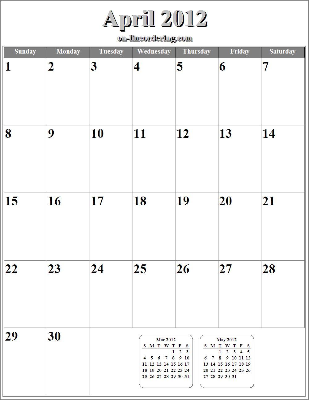 April Calendar Numbers : Nevenkitis free printable april calendar