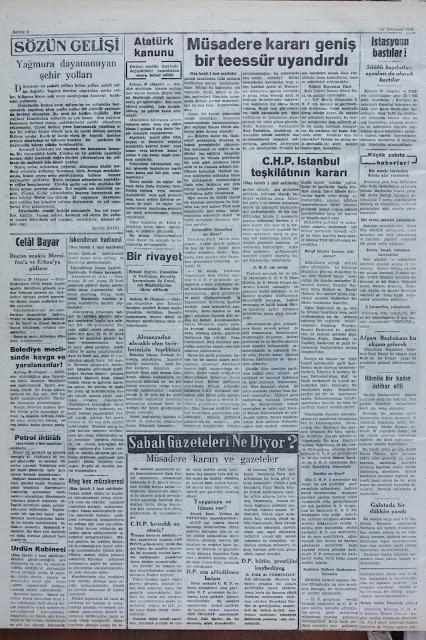 26 Temmuz 1951 Akşam gazetesi
