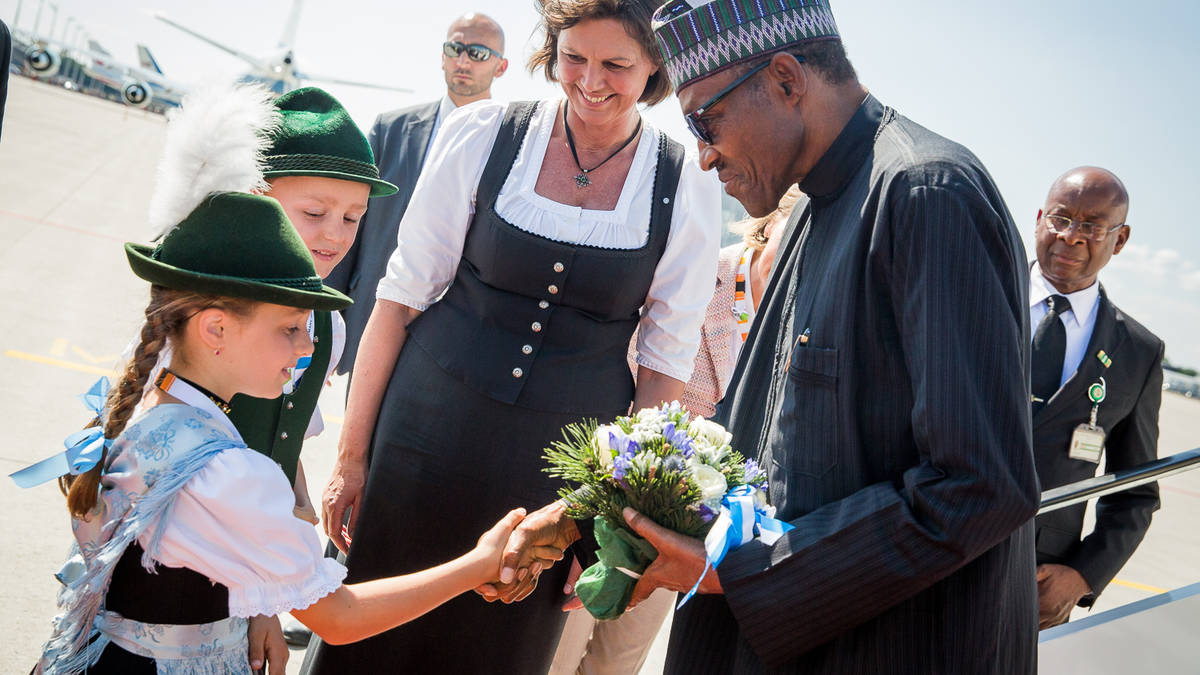 Image result for President Buhari arrives in Germany