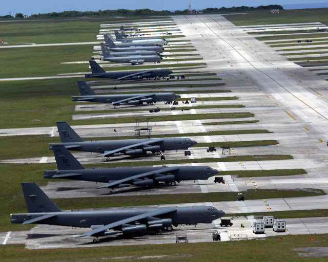 B-52  flightline at Guam.