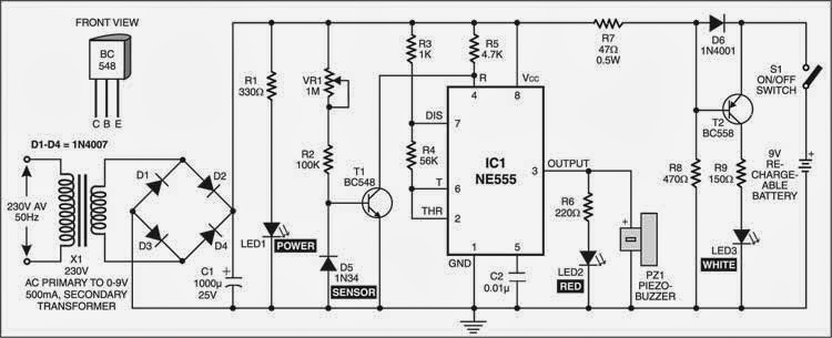 simple mains box heat monitor circuit diagram
