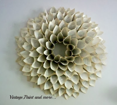 diy wreath made with book pages
