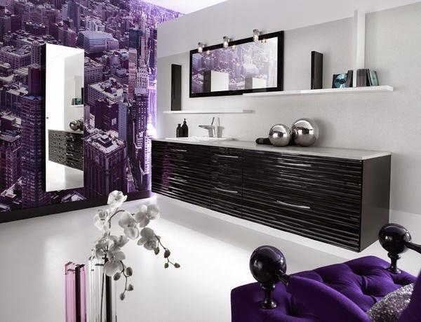 Baños Verde Con Beige:Baño moderno decorado con azulejos de diseños florales en morado