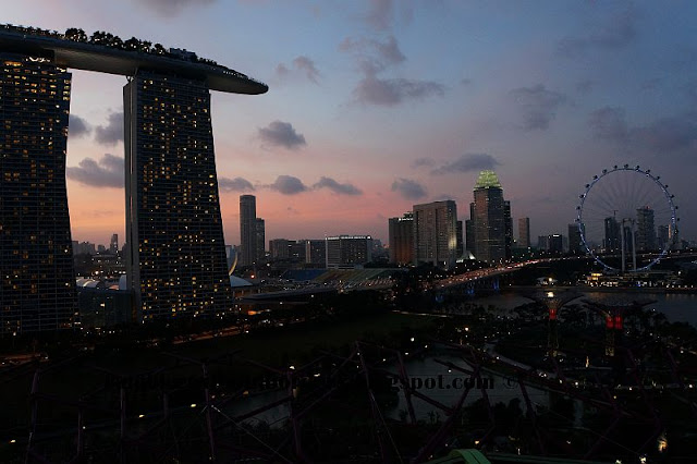Aerial view from the roof top of IndoChine restaurant at dusk, Gardens by the Bay, Singapore