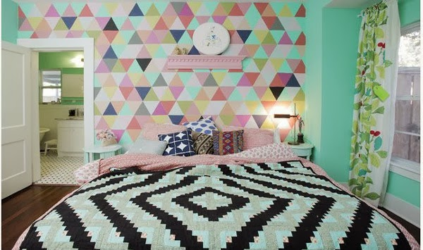Clean Lines With A Combination Of Various Colors And Patterns Are Arranged Very Sweet Look This Bedroom Looks Special Different From The