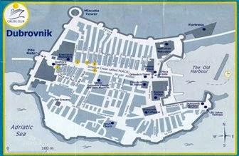 Mapa de atracciones turisticas de Dubrovnik