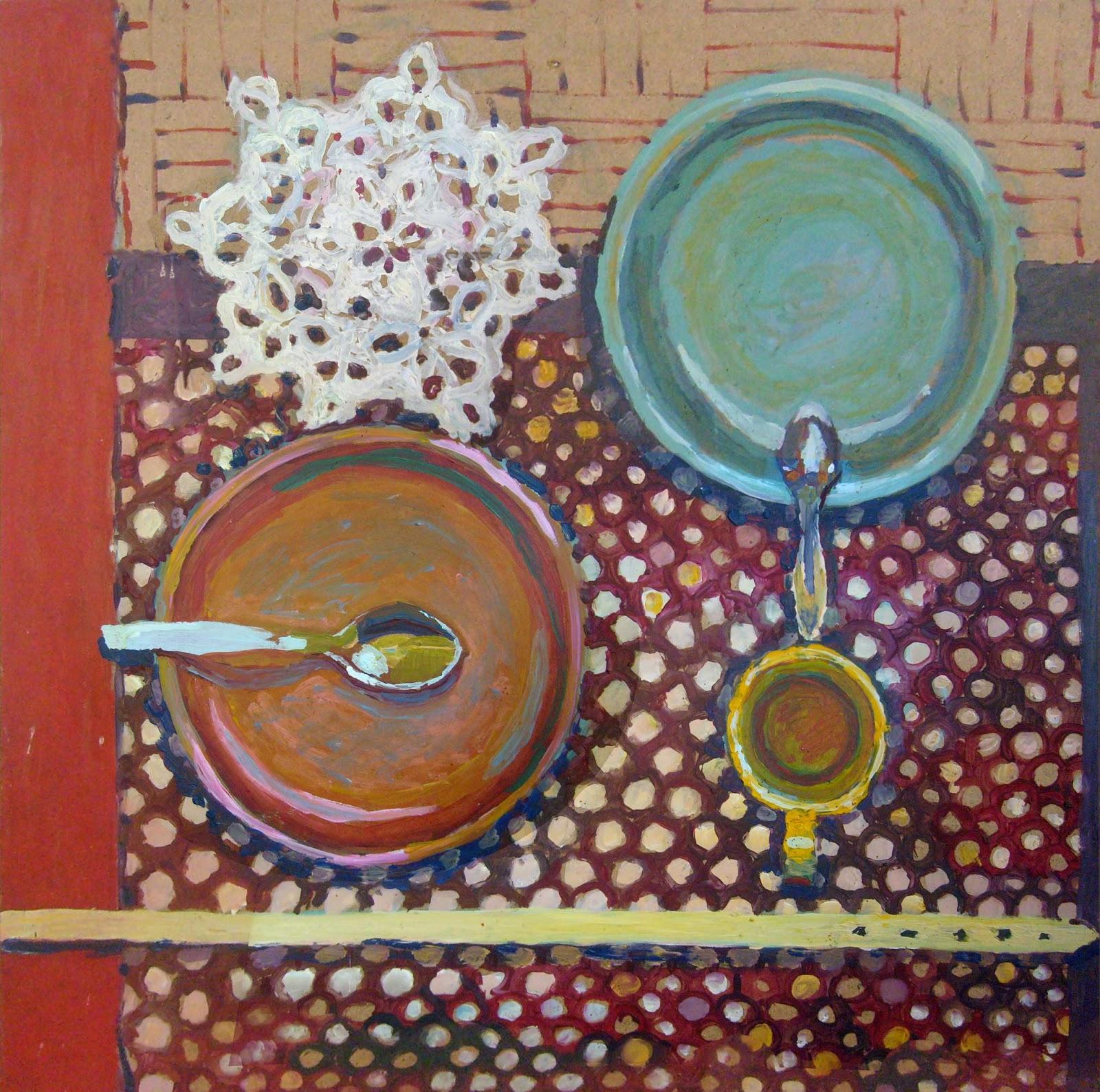 compositions of porcelain still life paint plates kitchen