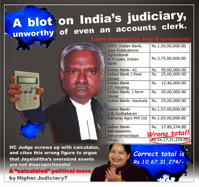 Jayalalitha got acquitted due to bad arithmetic abilities of Justice Kumaraswamy of Karnataka High Court