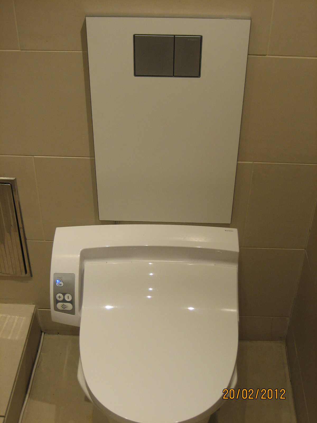 geberit aquaclean toilet bidet combo seat on display in. Black Bedroom Furniture Sets. Home Design Ideas