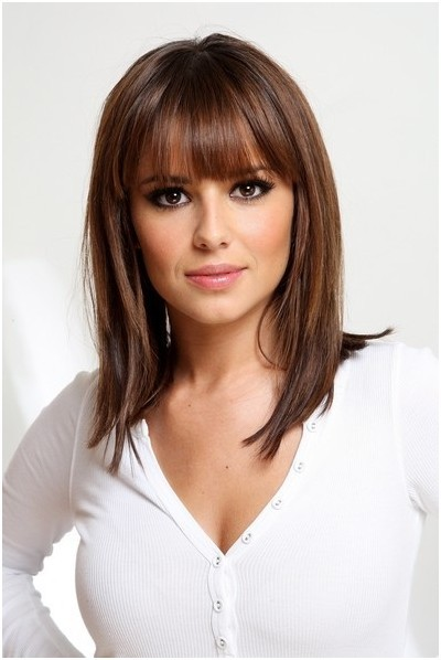 Medium Dark Hairstyle with Blunt Bangs