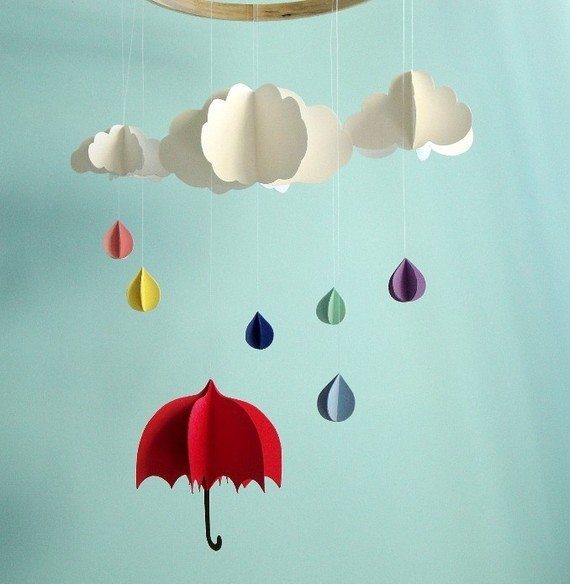 No shhing here april showers bulletin board displays for Baby shapes mobile