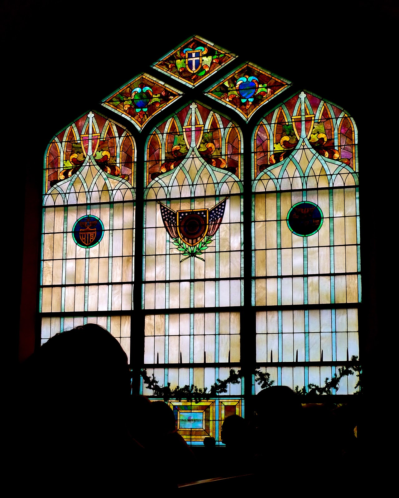 colorful stained glass huge window at the Cross Pointe Church in Milton Wisconsin