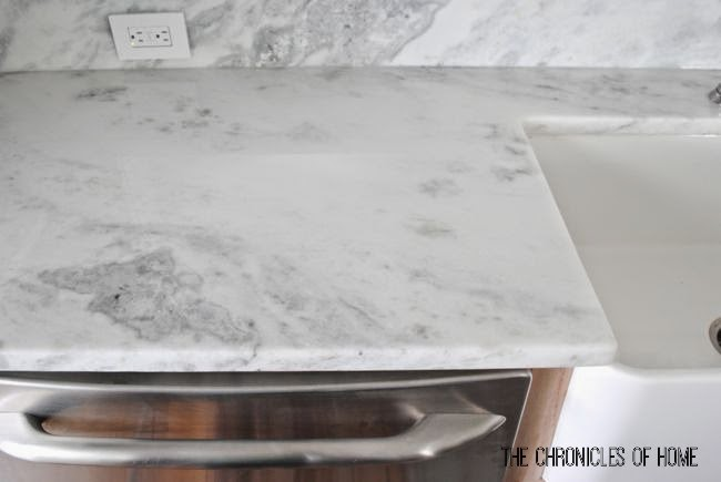 Marble Look Quartz Countertops : Kitchen part counter sink faucet
