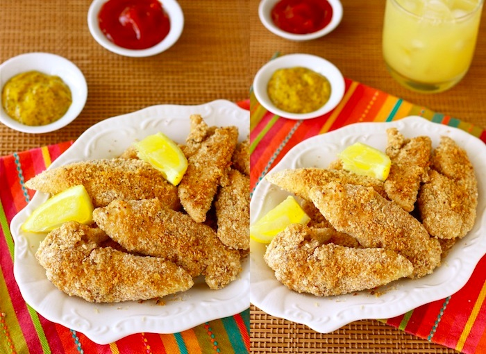 healthy baked chicken tenders recipe with spice blend of lemon pepper