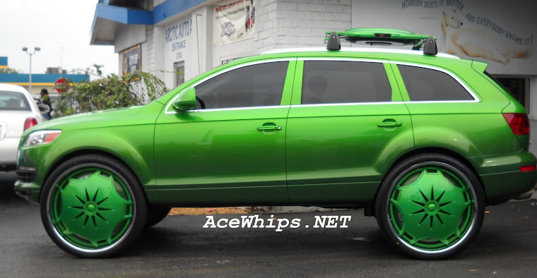 "Candy Green 2010 Audi Q7 on 30"" DUB Ganja Floaters"