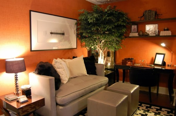 7 orange living room design ideas and color cobinations for Grey and orange living room ideas