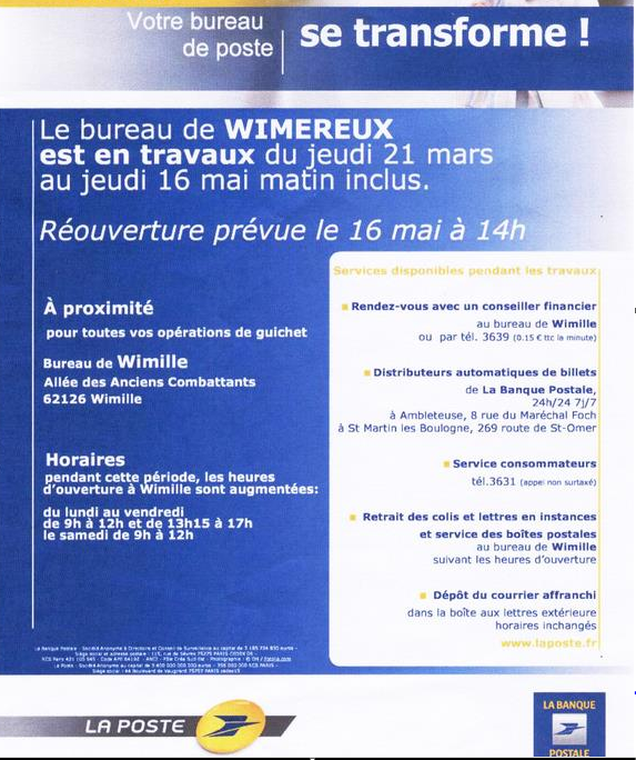 Wimereux station baln aire le bureau de poste de wimereux est en travaux - Bureau de poste a proximite ...