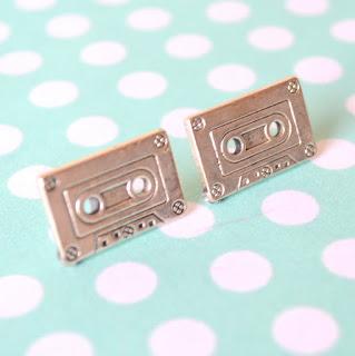 thepolkadotte polkadot retro cassette tape music vintage handmade jewellery earrings studs emo kitsch