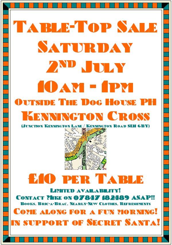 kennington news  table-top sale saturday 2nd july 10am