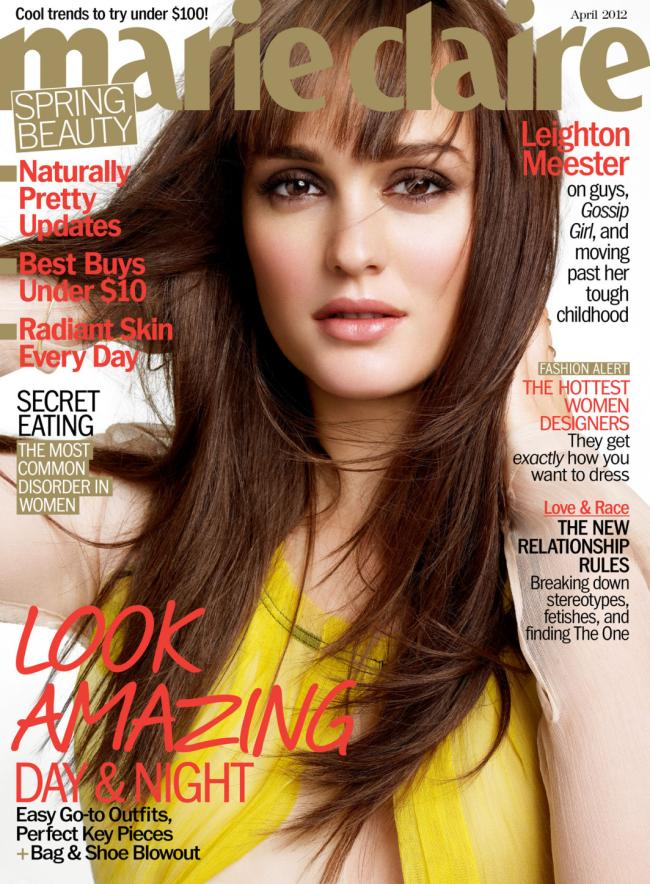 Leighton Meester wears a yellow Reed Krakoff dress on the cover of Marie Claire's April 2012 issue