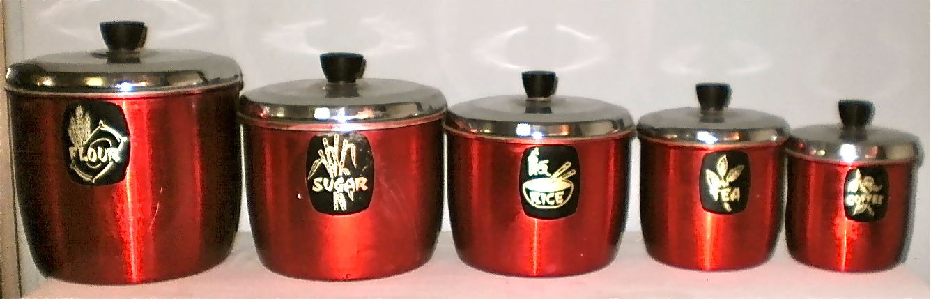 Treasure Trove Of Loveable Goods Vintage Retro Anodized Aluminium Kitchen Canister Set Red