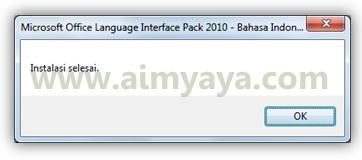 Gambar: Konfirmasi bahwa proses instalasi Microsoft Office Language Interface Pack (bahasa Indonesia) telah selesai
