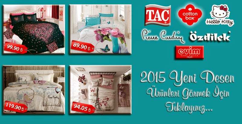 TAÇ,COTTONBOX,PİERRE CARDİN,ÖZDİLEK,HELLO KİTTY,EVİM 2015 Yeni Desen Ürünleri