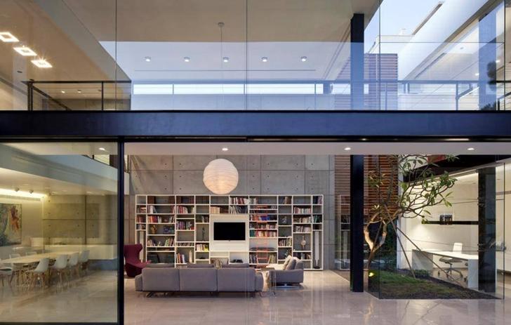 Living room of Modern Bauhaus Mansion In Israel at night