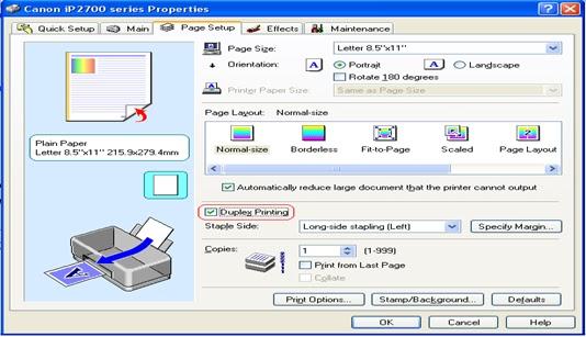 Cara Print Bolak-Balik Printer Canon   Duplex Print