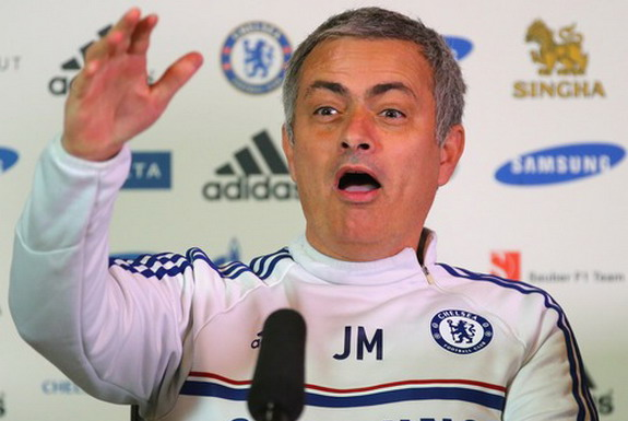 Chelsea boss José Mourinho reacts to seeing ITV reporter Rags Martel at his press conference