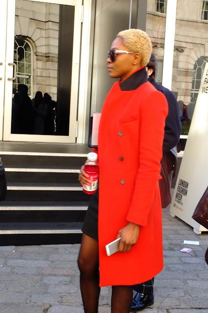 LFW ethnic short blond cut orange coat spring trend