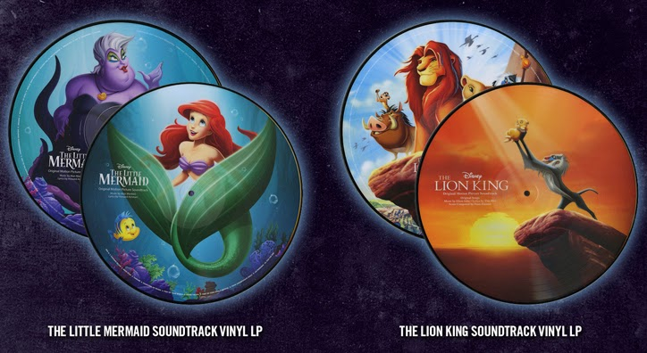 The Little Mermaid and The Lion King picture disc vinyl LPs