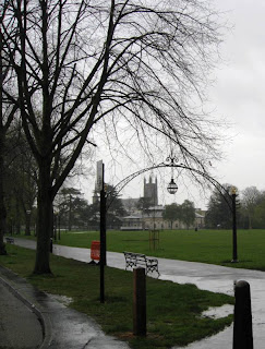 View of church through arch in the rain