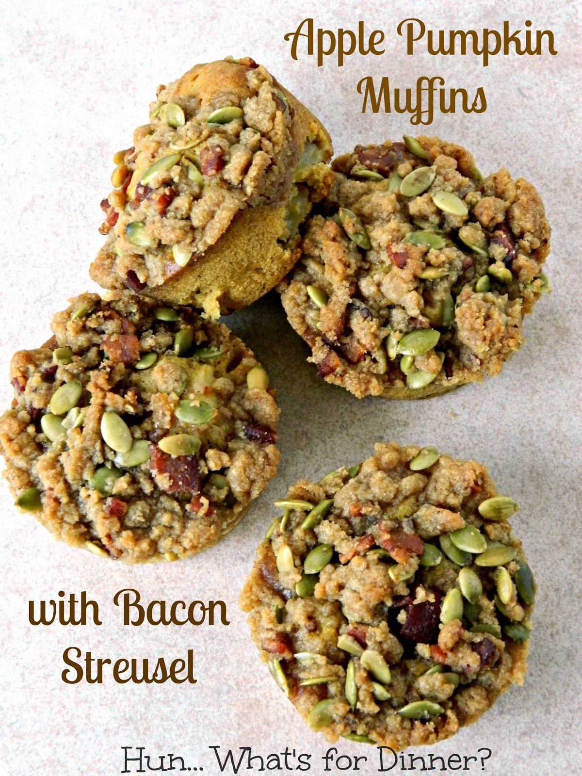 Hun... What's for Dinner? Apple Pumpkin Muffins with Bacon Streusel